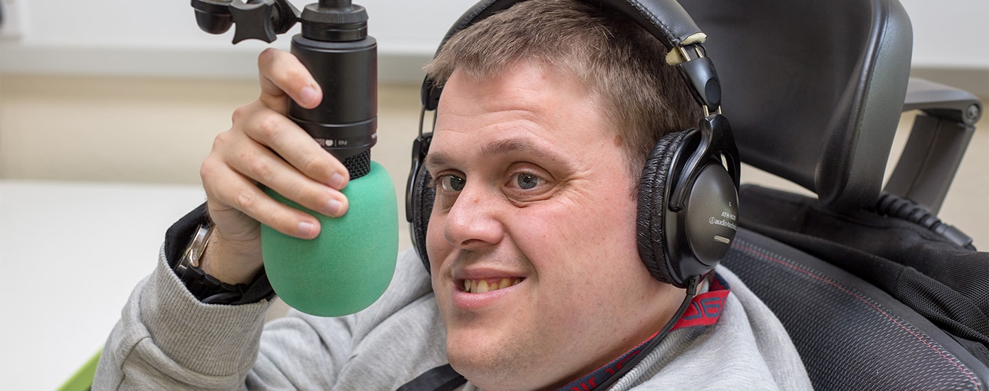 Shaun broadcasting at Radio Enham