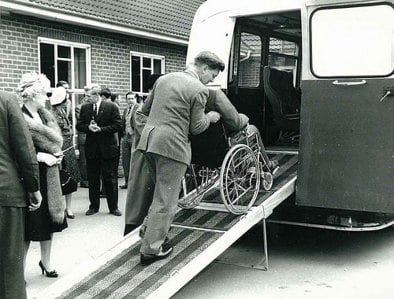 Apdapted coach with a ramp for wheelchairs in 1962