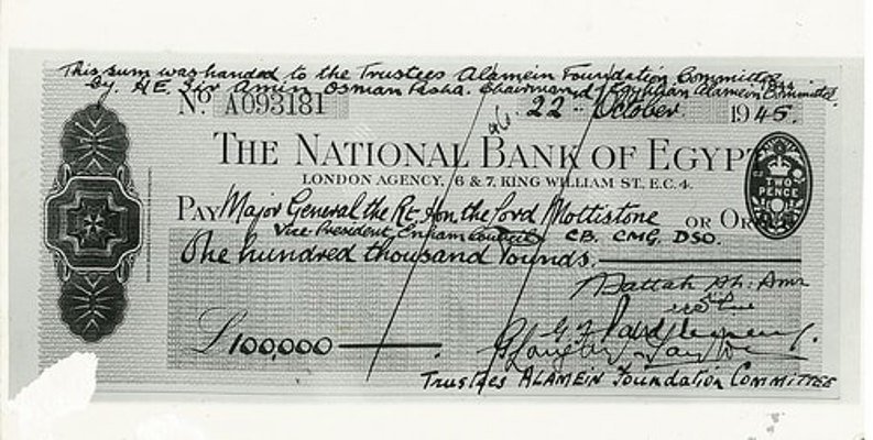 The Bank of Egypt cheque for £100,000