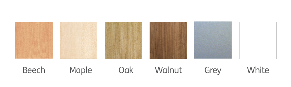 We have six unit finishes Beech, Maple, Oak, Walnut, Grey and White