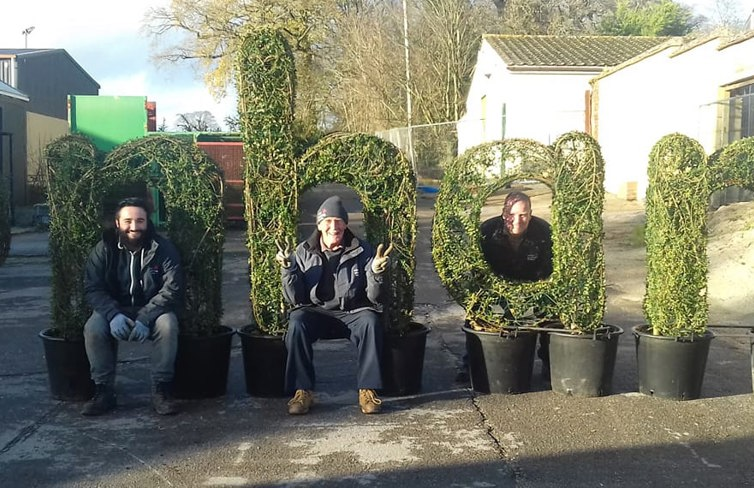 Topiary lettering at Enham Trust donated by Agrumi